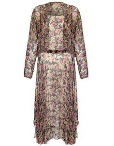 Vintage 1920s Floral Georgette Beaded Flapper Dress and Jacket.