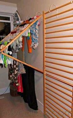 Upcycled crib rail drying rack