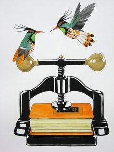 Vintage Book Press and Birds print - Black-crested coquette birds