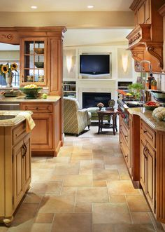 Classic kitchen in Kinnelon, NJ-Peter Rymwid Photography - contemporary - kitchen - newark - Marlene Wangenheim AKBD, CAPS, Allied Member ASID Classic Kitchen Cabinets, Kitchen Cabinet Styles, Granite Kitchen, Kitchen Tiles, Kitchen Flooring, Kitchen Countertops, New Kitchen, Tile Flooring, Country Kitchen