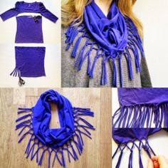 How To Make a Fashion T-Shirt Scarf. This actually looks really cool.
