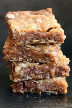 These chewy chocolate caramel bars can be summed up in three words: Chocolate Caramel Bliss. They are soft and chewy and the oats in them give them the perfect texture.