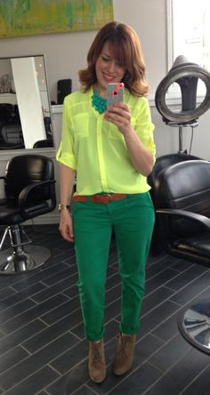 #SITC Spring Style ~ Green pants, neon yellow blouse, #SITC Turquoise Teardrop Statement Necklace & Ankle Boots