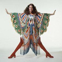Lesley Ann Warren wearing an Adolfo butterfly kimono, 1971