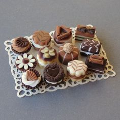 1/12th scale miniature Miniature Chocolate cakes
