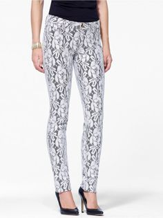 Gold and Ivory Printed Lace Skinny Jean #CacheStyle