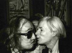 Salvador Dali kissing Andy Warhol. www.art-and-supplies.com