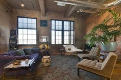 Furniture:Inspiring Loft Furniture Ideas Feat Tufted Sofa Also Brick Walls Loft Furniture Ideas - Make Life Easier and More Appealing