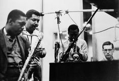 """March/April 1959, Columbia Recording Studios, 30th Street, New York. L/r: John Coltrane, Cannonball Adderley, Miles Davis and Bill Evans recording """"Kind of Blue"""". The best selling album of Jazz."""