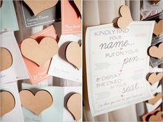 Wedding Chicks   Heart Pin Escort Cards