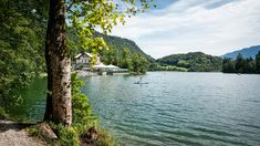 Blick über den Thumsee zum Seewirt Bobby, River, Outdoor, Fish Farming, Beer Garden, Alps, City, Summer Recipes, Outdoors