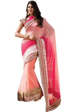 Beautiful Baby Pink and Hot Pink Saree