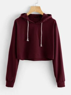 To find out about the Drawstring Hooded Crop Sweatshirt at SHEIN, part of our latest Sweatshirts ready to shop online today! Komplette Outfits, Cute Casual Outfits, Outfits For Teens, Women's Casual, Girls Fashion Clothes, Teen Fashion Outfits, Mode Kpop, Vetement Fashion, Cropped Hoodie