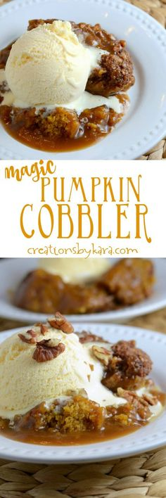 Recipe for incredible Pumpin Cobbler that makes its own caramel cinnamon sauce as it bakes. A perfect fall dessert for pumpkin lovers!