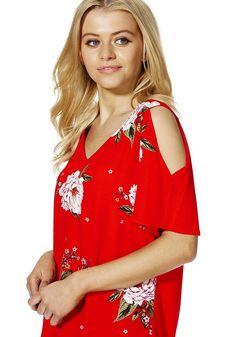 Tesco direct: F&F Floral Print Jersey Back Cold Shoulder Top