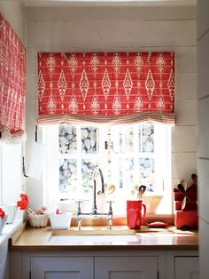 Double-sided blinds look beautiful inside and out, ideal for kitchens and bathrooms.