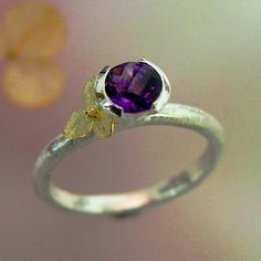 Rose Cut Amethyst Stacking Ring, Purple Gemstone Ring, Sterling Silver, 18k gold Hydrangea, February Birthstone  Made to order by PatrickIrlaJewelry (etsy)