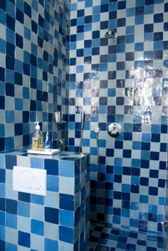 """These blue bathroom tiles are from our feature """"A Flemish Affair"""""""