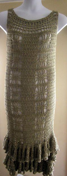 Crochet dress hi low with ruffled edges by Elegantcrochets on Etsy, $189.00