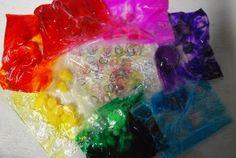 Every Color of the Rainbow Gel and Pompom Sensory Bag- Familylicious