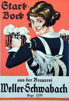1905 Stark Bock Brauerei Weller Schwabach original vintage poster German Beer