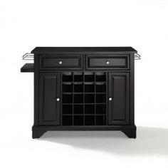 Crosley Furniture KF31004B Lafayette Black Granite Black Top Wine Island