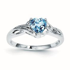 Sterling Silver Rhodium Plated Diamond Lt Swiss Blue Topaz Heart Ring - .02 dwt .70 cwt - Size 6, Women's