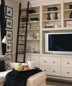 bookcases, livingroom tv solution with no fireplace