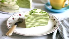 This Matcha Mille Crepe Cake recipe show you how to make a beautiful green tea crepe cake with layers of crepes and custard cream, with video