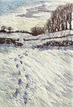 Leave Only Footprints, Flagg Footprints, Textile Art, Stitches, Waves, Textiles, Embroidery, Landscape, Fabric, Outdoor