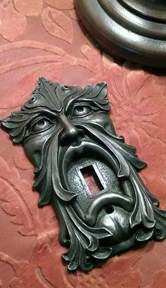 Looking for vintage hardware? How about a Green Man light Switch plate or Green Man Door bell, I created these years ago, they were never Light Switch Plates, Light Switch Covers, Door Knobs And Knockers, Antique Hardware, Sculpture, Wood Carving, Thing 1, Bronze, Pottery