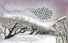 Midwinter Starlings linocut 18 x 28 cm £150