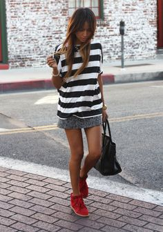 CUTE RED SHOES.... Striped White and Black Tee  from azita66.tumblr.com