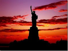 Land of Liberty - Where dreams come true… #beatgirl #sunset #nyc #dream #newyork #city #liberty #statue