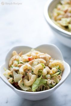Tuna Macaroni Salad ~ Family favorite tuna macaroni salad, made with canned tuna, elbow macaroni pasta, bell peppers, parsley, green onion, iceberg lettuce, and mayonnaise. ~ SimplyRecipes.com