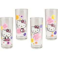 Hello Kitty Glass Set 10 oz ($19) ❤ liked on Polyvore featuring home, kitchen & dining, drinkware, hello kitty glasses, glass drinkware, glass set and hello kitty