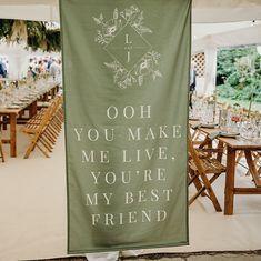 Pub Wedding, Green Wedding, Wedding Signs, Wedding Venues, Wedding Banners, Wedding Ideas, Wedding Venue Decorations, Wedding Fabric, Monogram Wedding