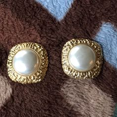 Pearl And Gold Costume Clip On Earrings