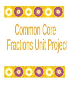 "This is a project that focusing on adding, subtracting, multiplying, and dividing fractions and mixed numbers.  It also focuses on an understanding of area, surface area, area and perimeter concepts aligned with the common core.  There a ""I can"" statements at the top that align with the common core for 6th grade math, as well as some repeats from common core 5th grade math."