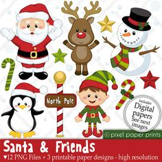 Christmas clipart - Santa and Friends - Clip art and Digital paper set