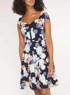 Womens **Tall Blue Floral Print Skater Dress- Blue
