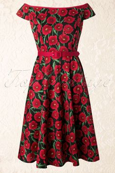 Bunny by TopVintage - 50s Cordelia Swing Dress with Red Poppies