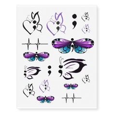 Suicide Awareness Temporary Tattoo Sheet that includes the suicide awareness symbol semicolon with different butterfly and heart designs. Sheet also features a lifeline symbol and stand alone semicolon. Ribbon Tattoos, Wrist Tattoos, New Tattoos, Small Tattoos, Sleeve Tattoos, Tatoos, Fake Tattoos, Future Tattoos, Temporary Tattoo Designs