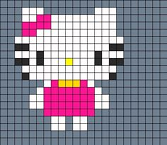 Fullbody Hellokitty Fuse Bead Perler Bead Pattern | Bead Sprites | Characters Fuse Bead Patterns