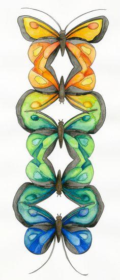 Butterflies Art Print 8x10 colorful watercolor by GoldenHaze, $12.00