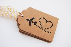 10 hand stamped Plane Tags   Wedding Favor Tags by LaCasetaDePaper, €3.75