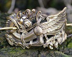 Hair clip Celtic Dragon. Norse Viking Dragon. by RuyaN on Etsy