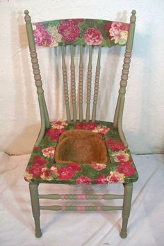 Roses Roses Repurposed Wooden Chair Garden or Patio by GrammysLoft, $85.00