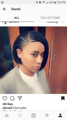 Simple, yet cute. Cornrolls & Singles. http://coffeespoonslytherin.tumblr.com/post/157380759502/stunning-short-layered-bob-hairstyles-short #africanhairbraiding