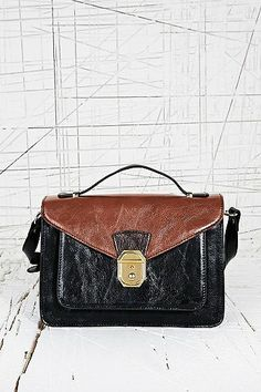 Front Lock Satchel in Black and Tan
